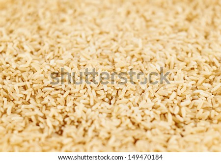 Boiled brown rice covered surface with a shallow depth of field as a food background - stock photo