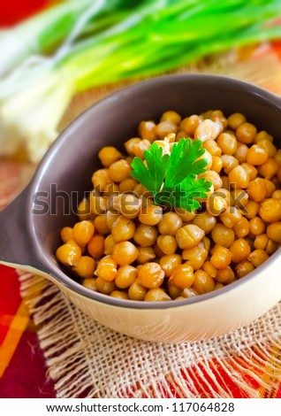 boiled chickpeas - stock photo