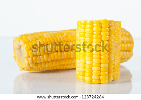 Boiled corn on white background with reflection - stock photo