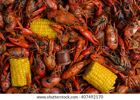 Boiled Crawfish, Corn on the Cob, and Sausage - stock photo