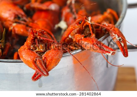 Boiled crayfish in pan on a wooden board, a traditional Russian dish - stock photo