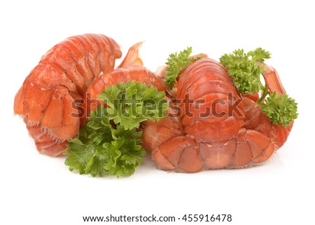 Boiled crayfish with parsley on white background