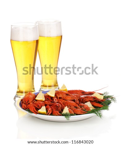 boiled crayfishes and beer isolated on white - stock photo