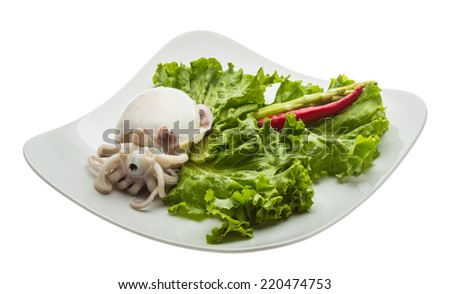 Boiled cuttlefish with salad leaves