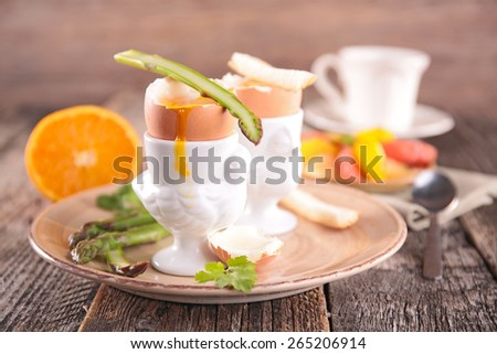 boiled egg, healthy breakfast - stock photo
