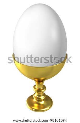 Boiled egg in golden cup isolated on white background. - stock photo