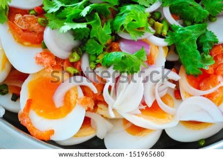 boiled egg salad - stock photo