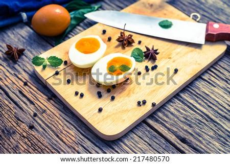Boiled eggs - stock photo