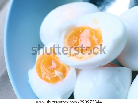 Boiled eggs in a dish. - stock photo