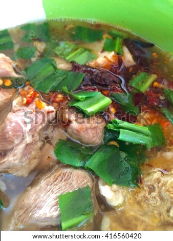 Boiled pork bone with spicy soup, Thai food.