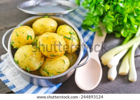 boiled potato - stock photo