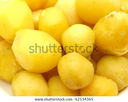 Boiled potato on a white background