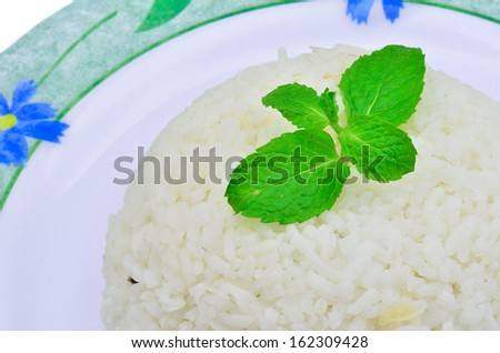 Boiled rice isolated on white background