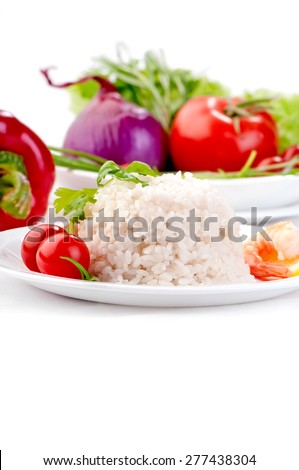 boiled rice on white plate with vegetables and prawn diet healthy vegetarian food  - stock photo