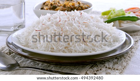 Boiled Rice, vegetable and salad