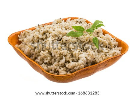 Boiled rice with herbs