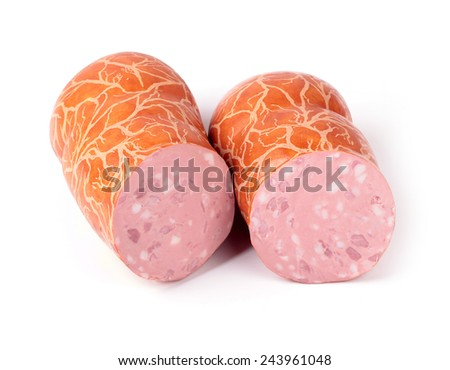 boiled sausage in a natural casing on a white background - stock photo