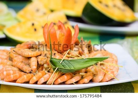 Boiled shrimp  - stock photo