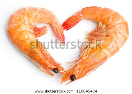 Boiled shrimp isolated on white with heart shape