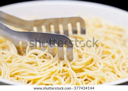 Boiled Spaghetti in a Bowl  - stock photo