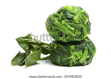 Boiled spinach on the white background