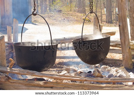 Boiling Maple Syrup the Old Way - stock photo