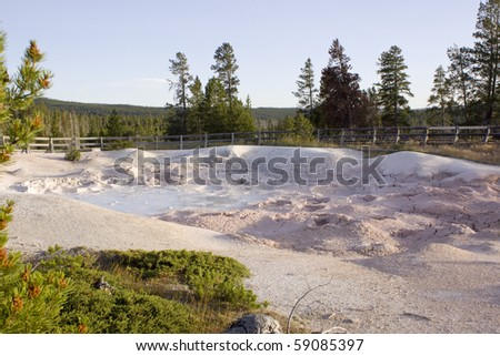Boiling mud in Yellowstone - stock photo