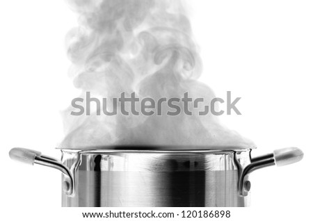 Boiling water in a saucepan over white background