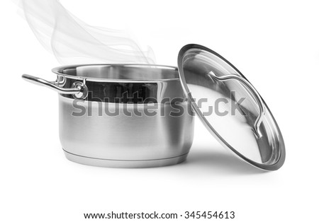 Boiling water in a saucepan over white background with clipping path