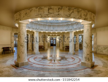 BOISE, IDAHO - JULY 31: Marble pillars on the ground level of the Idaho Capitol building on July 31, 2013 in Boise, Idaho