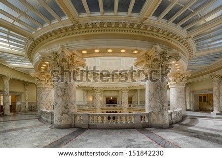 BOISE, IDAHO - JULY 31: Marble pillars on the upper floor of the Idaho Capitol building on July 31, 2013 in Boise, Idaho