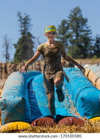 BOISE, IDAHO/USA - AUGUST 10, 2013: at the The Dirty Dash - stock photo