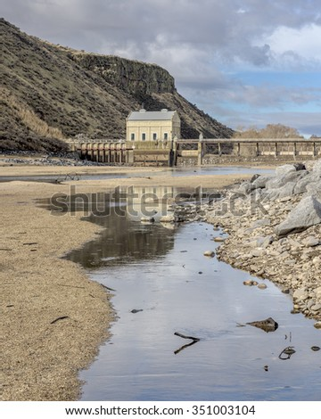 Boise River and Diversion dam at low water season winter - stock photo