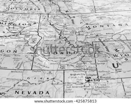 BOISE, USA - CIRCA MAY 2016: Map of the state of Idaho with selective focus on state name in black and white