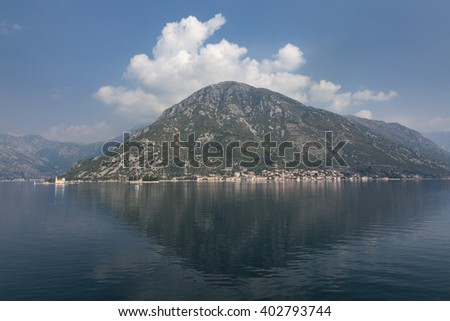 Boka Kotor (Boka Kotorska) bay with town Perast, Montenegro - stock photo