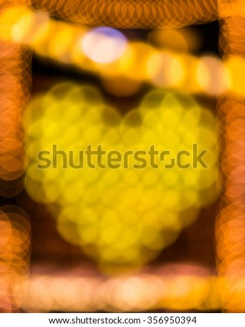 Boke gold heart on night time - stock photo