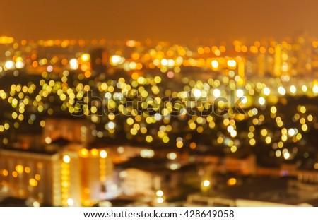 Bokeh and defocus of cityscape at twilight night Bangkok, Thailand - stock photo