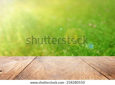 Bokeh background and wood floor - stock photo