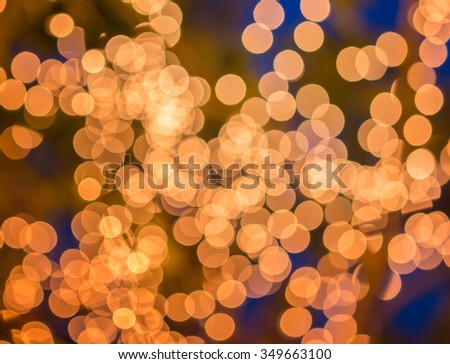 Bokeh blurred golden lights. The abstract of Life