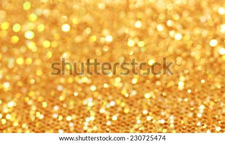 Bokeh. Christmas gold blinking background - stock photo