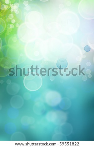 Bokeh circles of light on green tone vertical background, space for advertising copy - stock photo
