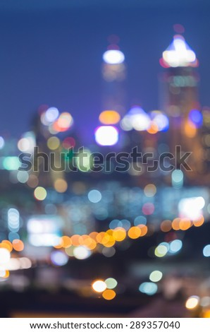 Bokeh City lights abstract circular bokeh on blue twilight background - stock photo