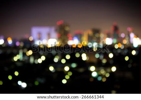 Bokeh City Lights At Night - stock photo