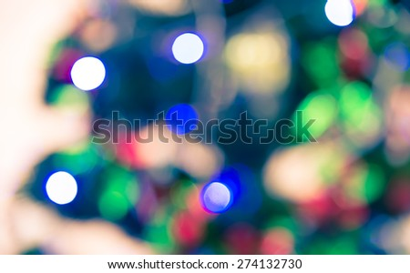 Bokeh defocused blur of light decoration on  christmas tree abstract background - stock photo
