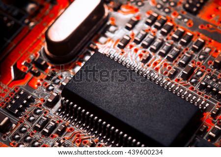 Bokeh electronic circuit close up computer - stock photo
