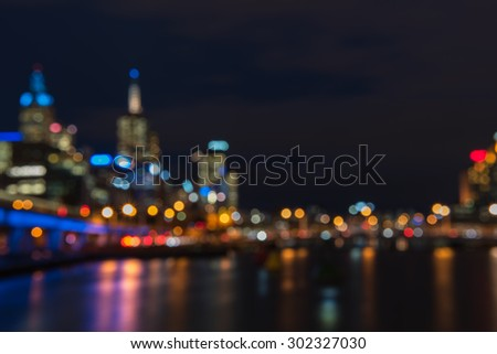 Bokeh friday night lights blurry abstract background from Melbourne city, Victoria, Australia.  - stock photo