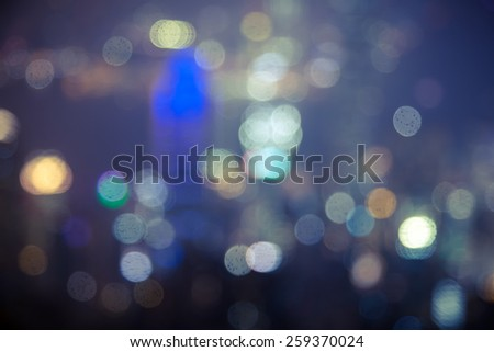 Bokeh Hong Kong night scenes / View from the Peak / color tone tuned / rain spot  - stock photo