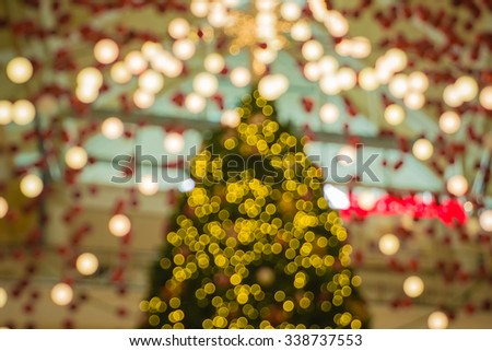 Bokeh light for decoration pattern or blur background for Christmas tree