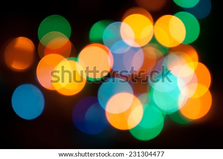 Bokeh light on the black background