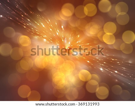 Bokeh light, shimmering blur spot lights on orange abstract background.